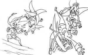 Painwheel vs Filia sketches by oh8