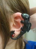 HTTYD Night fury ear cuff completed by 77Flower77