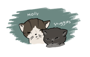 Kootra's cats Snuggles and Molly by Chaos55t