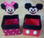 Mickey and Minnie Perler Boxes by Billygoatbaby