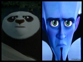DreamWorks similarities: Po and Megamind by SinbadHiccup