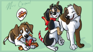 Christmas Beagles by colonel-strawberry