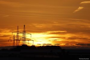 Sunset with power poles by Bastlwastl84
