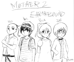 MOTHER 2 cast sketch by Ninten