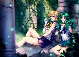 SM: Sailor Uranus x Sailor Neptune by Kay-I
