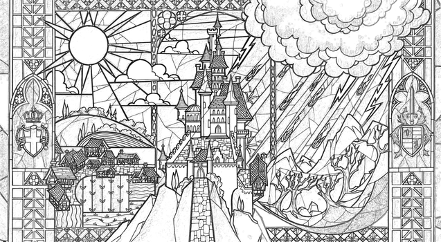 Beauty Beast Castle Coloring Page by Richard67915