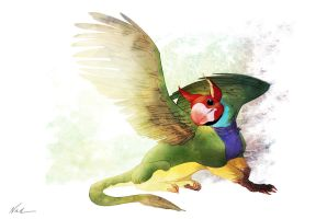 "Gryphon ""Gouldian Finch"" by kinkajoomotion"