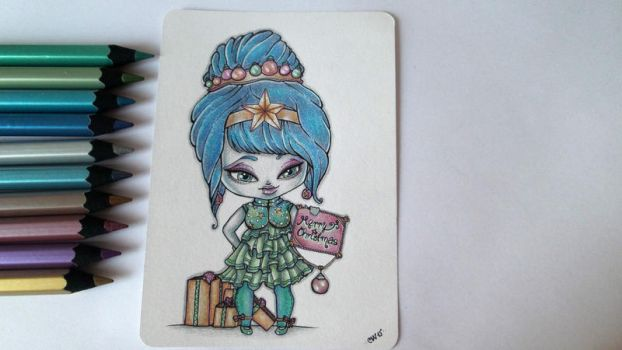 Cheap Art Supply Challenge - Merry Christmas chibi by CatherineWhite