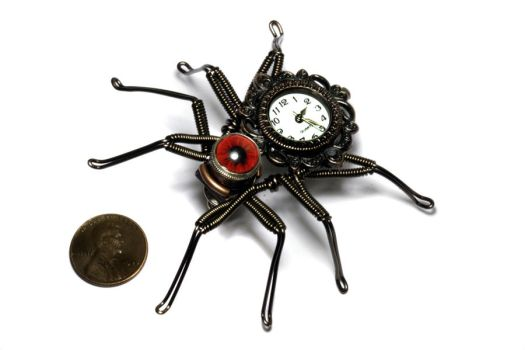 Steampunk Spider Lapel watch  pin by CatherinetteRings