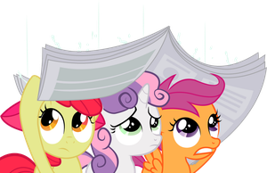 Cutie Mark Crusaders - sheltering from the rain by JoeMasterPencil