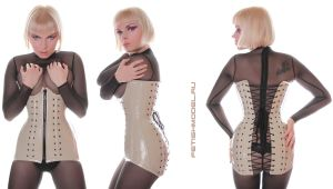 Mesh Catsuit and Long PVC Corset by agnadeviphotographer