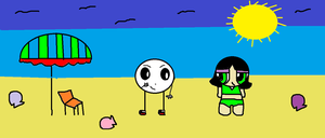 Mantu and Buttercup at the beach by popcorn97