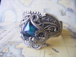 Sterling Silver Deep Ocean Cuff 2 by Hidden-Treasury