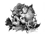 Tattoo flash - skull and roses by tikos