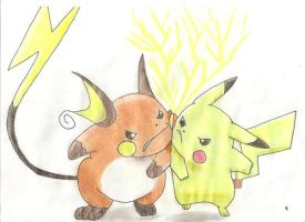 Pikachu and Raichu - Rivalry by krzych-ziomekkk
