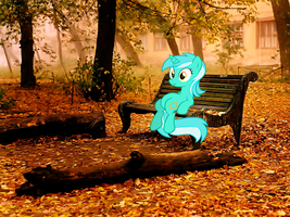 Lyra Heartstrings sitting on a bench by Trivera935