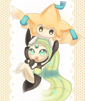 Meloetta and Jirachi by Joltik92