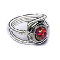 Cyberpunk Ring Red Ruby Opal by CatherinetteRings