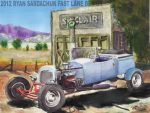 1924 Dodge T Bucket Hot Rod At Sinclair Dino Gas by FastLaneIllustration