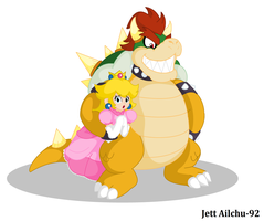 Bowser and Peach by JettAilchu-92
