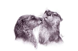 Otter Love by CorvidaeArt