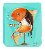 Goldfish drinking coffee by Creetodon