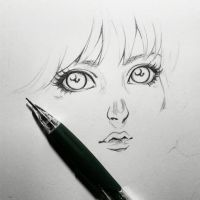 manga girl face by tamtrac