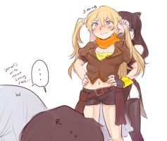 Playing with Yang's hair by ram-jam