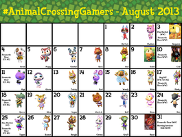 #AnimalCrossingGamers Calendar for August 2013 by TheStaticStalker