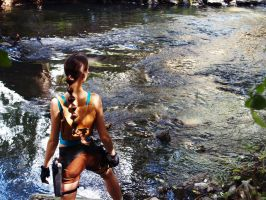 Lara Croft Classic - Waterfall by TanyaCroft
