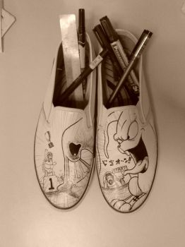 My Hare and Tortoise Shoes by nostalgious