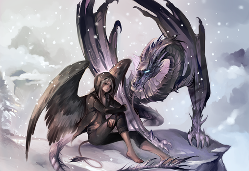 Commission with dragon by Sawitry