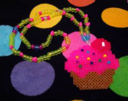 Perler Cupcake Necklace by cadillacphunque