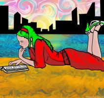 Reading at the City Beach by janique-marie