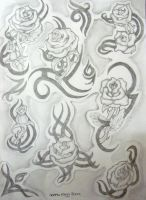 tribal rose tattoo sheet by the-taste-of-blood