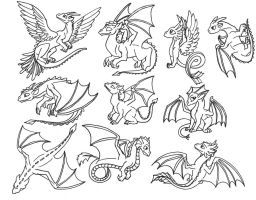 Cute Dragons Clip Art by Skylanth