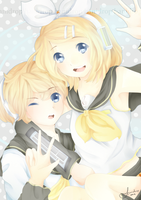 Kagamine Twins by hanidrop