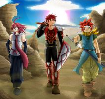 Commission: Redheaded RPG Heroes by R-Legend