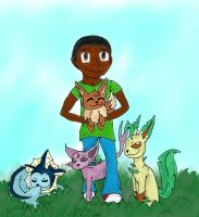 Adrean and his Eeveelutions by pokemonpuppy1