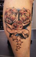 stars and roses tattoo by thirteen7s