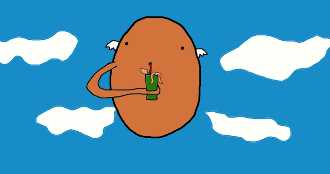 A Flying Potato Drinking a Squid Slushy!! by GrimmSkulltheMad