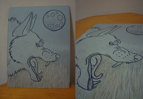 PM Project 2:: Werewolf Linoleum WIP by lucidcoyote