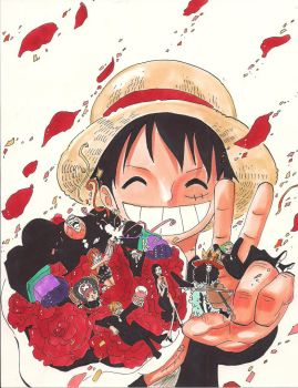 Luffy and Straw Hats by HikaruMuto