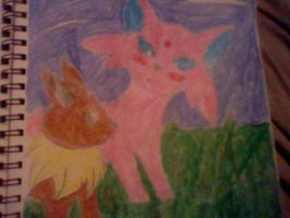 eevee and espeon. by Emperorzeta
