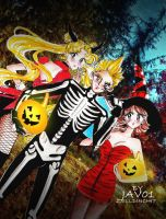 usagi , zell and  selphie - halloween party by zelldinchit