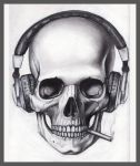 Skull Headphones Cigarette by pleasenojunkthanks