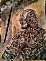 Robocop Mixed Media Study by dreamflux1