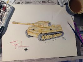 Tiger 1 Water colour by SheWolfey
