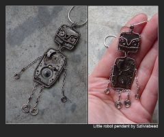 Little robot steampunk pendant by bodaszilvia
