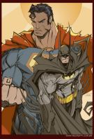 SuperMan and Batman -in Light- by Rigonatti